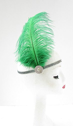 Green Ostrich Feather Headband Flapper 1920s Great Gatsby Vintage Headpiece Silver Z01 *EXCLUSIVELY SOLD BY STARCROSSED BEAUTY* by Starcrossed Beauty (Ostrich Green)