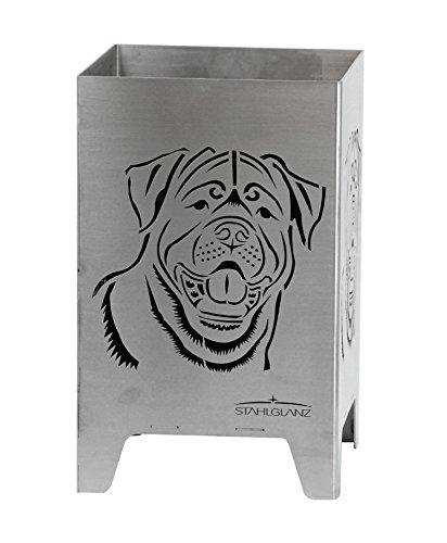 feuerwuerfel Feuerkorb, Feuerwürfel, Feuerschale, Hund, Rottweiler aus Stahl (49 x 31 x 31)