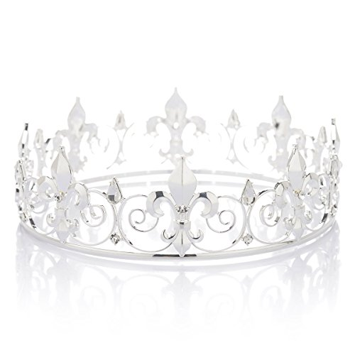 (SWEETV Kristall Männer Kronen Tiara Strass Königs Krone Tiara Diadem Kopfschmuck für Feier Party, Silber)