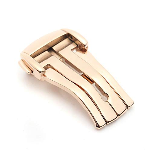ROUHO 16Mm / 18Mm / 20Mm Steel Folding View Button Clasp Omega De Ville Buckle-Rose Gold 16mm