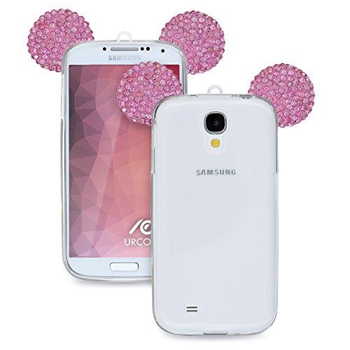 Urcover Kompatibel mit Samsung Galaxy S4 Handyhülle Maus Ohren Bling Ear Schutzhülle Case Cover Etui Crystal Bär Maus Ohren Girl TPU Diamant Pink Crystal Bling Case Cover