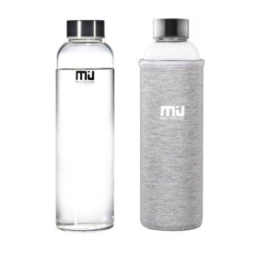MIU COLOR 360ml/550ml Bouteille d'eau en Verre Borosilicate - Housse Anti-échaudage en Néoprène Écologique Sans BPA, PVC, Plastique et Plomb (Gris, 360ml)