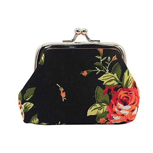 Frauen Leinwand Rose Blumen Muster Geldbörse Mini Brieftasche Geld Tasche Schlüssel Kartenhalter, Schwarz - E-geld-sorter