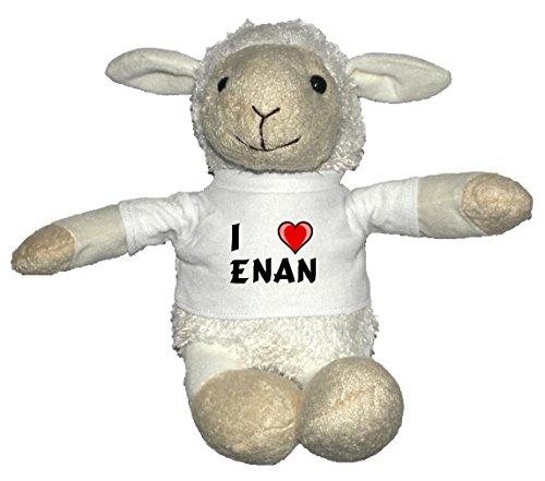 Preisvergleich Produktbild Weiß Schaf Plüschtier mit T-shirt mit Aufschrift Ich liebe Enan (Vorname/Zuname/Spitzname)