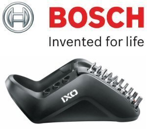 Bosch Genuine IXO Replacement Charger Unit (UK/GB 240V, 3-Pin Plug Version) (To Fit: Bosch IXO 3 & IXO 4) c/w 10 Pce Bit Set + STANLEY KeyTape + Cadbury Chocolate Bar by Bosch