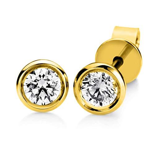 Ohrstecker aus 750 Gelbgold Durchmesser:4,7mm mit 2 Brillanten 0,35 ct TW-si (2 Karat Tw Diamant-ohrstecker)