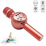 Microfono karaoke inalambrico Bluetooth, NINE CUBE karaoke mic 3 en 1 de mano, Reproductor,Regalo para amigos y ninos, Compatible con IOS, Android, PC y otros productos inteligentes (Oro rosa)