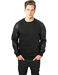 Urban Classics Raglan Leather Imitation Crew, Pull Homme