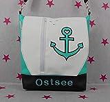 pinkeSterne ☆ Handtasche OSTSEE Umhängetasche Vertica Leder Mint Anker Nordsee Maritim