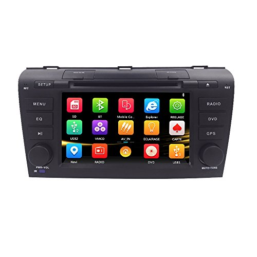 Din Stereo Double Car Navigation (Hizpo 7 inch Double Din In Dash HD Touch Screen Car DVD Player GPS Navigation Stereo For Mazda 3 2004 2005 2006 2007 2008 2009 Support Navi/Bluetooth/SD/USB/FM/AM Radio/3G/DVD/1080P)
