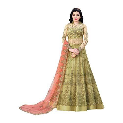 Mehendi Green ndische muslimische Braut pakistanische Bollywood Anarkali Salwar Kameez bereit, Designer Boden Touch Net schwere Stickerei 7942 zu tragen Super Net Saree