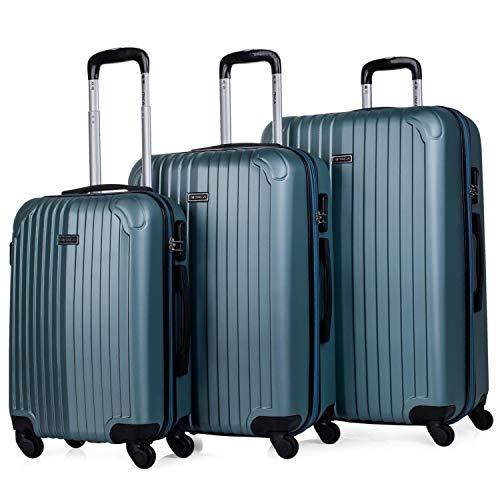 ITACA - Juego Maletas de Viaje 4 Ruedas Trolley ABS. Extensibles Rígidas Resistentes y Ligeras. Mango Asas Candado. Pequeña Cabina Low Cost, Mediana y Grande. T71500, Color Aguamarina