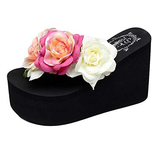Lmmet scarpe donna eleganti estive infradito donna eleganti sandali donna bassi comodi sandali donna zeppa alta pantofole da donna con fiore