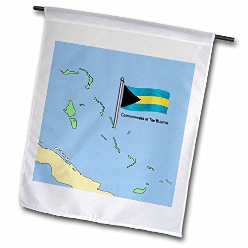 3drose FL _ 55492_ 1Die Karte und Flagge der Commonwealth der Bahamas Garten Flagge, 12von 18 (T-shirt Bahamas-flagge)