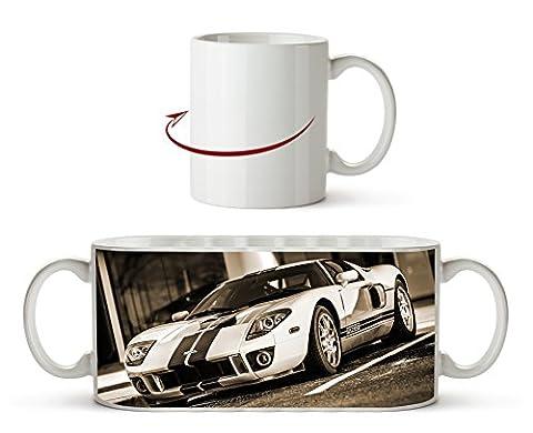 Atemberaubender Ford GT Effekt: Sepia als Motivetasse 300ml, aus Keramik weiß, wunderbar als Geschenkidee oder ihre neue Lieblingstasse.