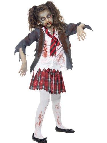 Smiffys costume zombie scolara, grigia, comprende gonna scozzese, giacca, camicia finta