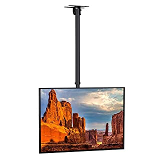 SIMBR TV Ceiling Mount Bracket, Tilts, Swivels and Height Adjustable, Fits most 22-75'' LCD LED Plasma Monitor Screen Display up to VESA 600x400 and 50kg/110lbLoad Capacity