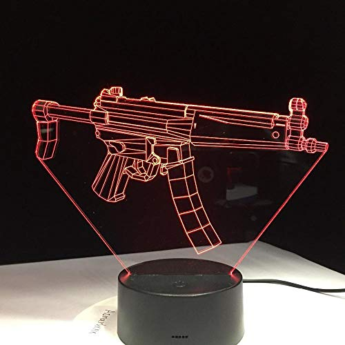 3D Illusion Lampe Gewehr LED Nachtlicht, USB-Stromversorgung 7 Farben Blinken Berührungsschalter Schlafzimmer Schreibtischlampe für Kinder Weihnachts geschenk - C6 Mit Blauem Led-licht
