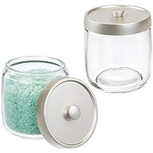 mDesign Juego de 2 algodoneros de cristal – Frasco para guardar discos de algodón, bastoncillos