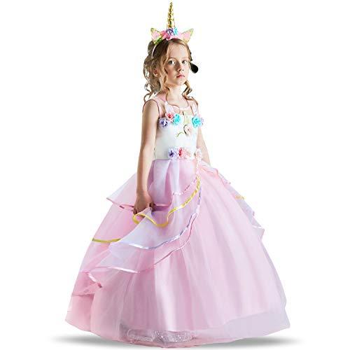 TTYAOVO Blumenmädchen Einhorn Kleid Mädchen Prinzessin Pageant Ballkleider 2-3 Jahre 03 Rosa