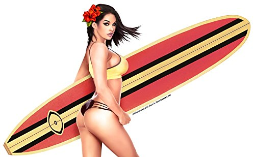 Unbekannt Surfer Pinup Girl Aufkleber Sticker Surfbrett Sonne Sand Meer ca. 15x9 cm Sexy Hawaii Autoaufkleber Urlaub Fun