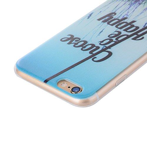 iPhone 6/6S Plus 5.5 Inch Case,Feeltech |Gratuit Stylet| Premium Slim Coque TPU Gel Ultra Mince Étui Protecteur Housse Clair Nouveau Collection Avec Silicium Colorée Dessin Motif Protection Couverture Choose to be happy