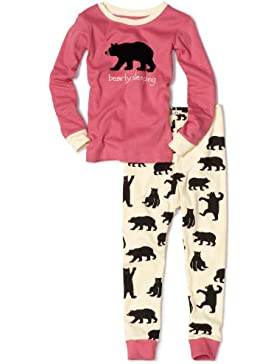 Hatley Kids Pj Set (App) -Pink Bearly Sleeping, Pijama para Niñas