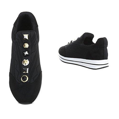 Ital-design Zapatos De Mujer Sneaker Flat Sneakers Low Black D-20