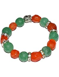 Reiki Crystal Products Green Aventurine And Carnelian 8 Mm Round Bead Crystal Stone Bracelet With Head Buddha...