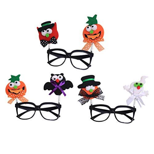 Amosfun 3PCS Halloween Eyeglass Partyangebot Bat Ghost Kürbis Halloween Dress Up Eyeglass (Ein Als Zeichen Verkleiden Sich)