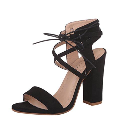 ZKOOO Donna Estate Cinturino Caviglia Sandali Signore Tacco Blocco Alto Sandalo Peep Toe Scarpe per Ufficio Club Vestito Nero