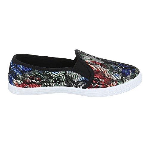 Damen Schuhe, FC16-V01, Halbschuhe MODERNE SLIPPER Schwarz Multi
