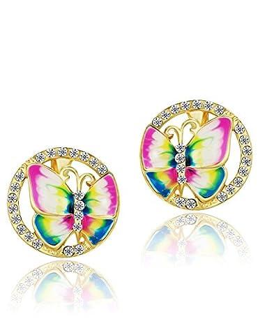 Neoglory Boucles d'oreilles Stallion Papillons Fleurs en Or 14K émail