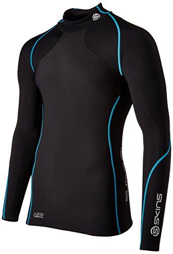 skins-a200-longues-manches-pour-homme-top-mck-neck-xssmlxlxxl-multicolore-black-neon-blue-thermal