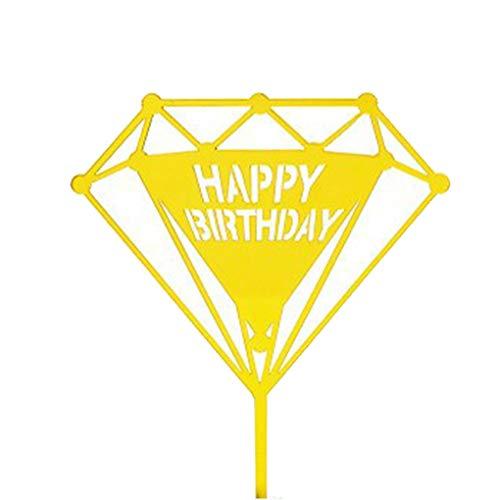 Kineca Acryl Happy Birthday Cake Topper Dessert Flag Babyparty-Partei-Hochzeit Kinder Bevorzugungen Gold