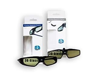 """Double Pack DLP Link 3D USB 3D lunettes à obturateur lunettes 3D """"Super Slim"""" + lunettes 3D """"CLIP ON"""", en particulier pour les porteurs de lunettes, pour projecteur DLP téléviseurs. nouveau / marque PRECORN"""