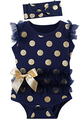 MOMBEBE COSLAND Baby Mädchen Pailletten Sommer Tutu Body mit Stirnband (Blau, 0-3 Monate)