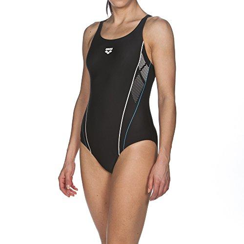 arena Damen Sport Badeanzug Skid, Black-Turquoise-White, 36