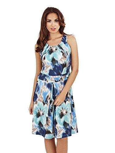Pistachio - Robe courte pour femmes avec imprimé fleuri avec bretelles Bleu