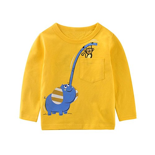JERFER Karikatur Langes Hülsen T-Shirt Tops Neugeborene Babykleidung Kleinkind Bluse Sweatshirt Kinderbekleidung Babykleider Mädchen Junge Rundhals Langarmshirts 1.5-6 Jahre (Gelb, 24M) (4 Kleinkind-t-shirt)