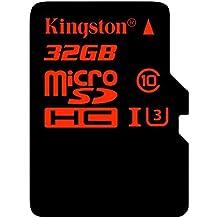Kingston SDCA3/32GB - Tarjeta de memoria microSDHC/SDXC de 32 GB (UHS-I U3, 90R/80 W, SDCA3, con adaptador SD)
