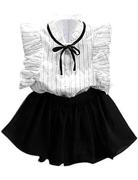Amlaiworld Vestito per bambini,Ragazze striscia camicia + gonna pantalone in Chiffon Tailleur gonna