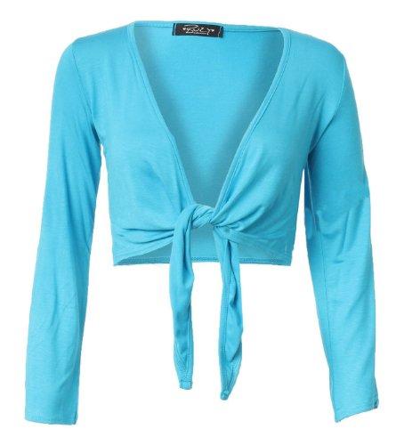 Fast Fashion Damen Mit Langen Ärmeln Riegelfrontseite Viskose Jersey Bolero Achselzucken Turquoise
