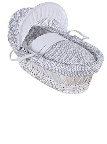 Clair de Lune Barley Bébé - Moisés de mimbre de color blanco, diseño de cesta, incluye ropa de cama, colchón y capucha ajustable (color gris)