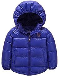 Doudoune Epaisse à Capuche Unisexe Uni Manteau Blouson Vest Hiver Chand Manches Longues pour Enfant Fille Garçon 3-11 ans - Couleurs Divers