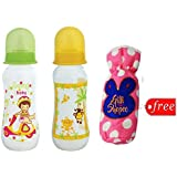Gilli Shopee Bottle Cover Free With Mee Mee Premium Baby Feeding Bottle, 250ml Pack Of 2 (Yellow & Green)