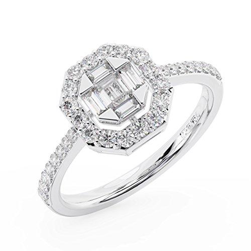 finediamondsrus Damen - Gold 9 Karat (375) 9 Karat (375) Weißgold Round Brilliant & Baguette Feines Weiß +/Top Wesselton (F) Diamant