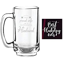 YaYa cafe Birthday Anniversary Gifts for Husband, Proud Wife of Wonderful Husband Engraved Beer Mug - Playboy Beer 357ml