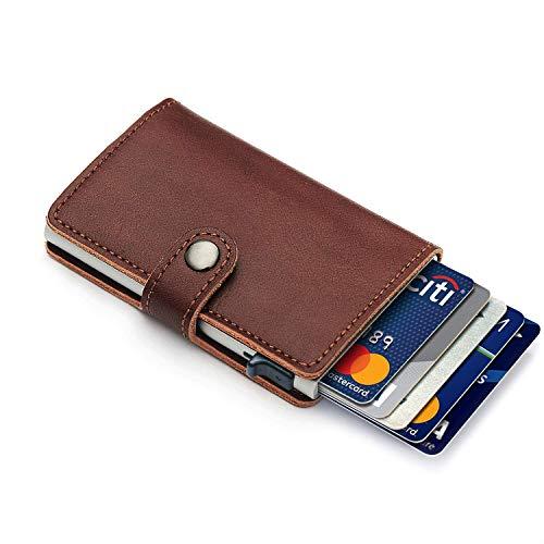 FREVANDOU Kreditkartenetui Echtes Leder Kartenetui Geldklammer Portmonee Geldbeutel mit RFID Schutz für Alltag