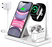 PATIOSNAP Wireless Charger, 4 in 1 Fast Wireless Charging Station for iPhone 12/12 Pro/11/X/XS/XR/8/8P Galaxy